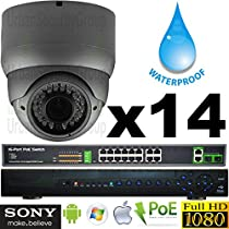 USG Business Grade Sony DSP 14 Camera HD Security System : 1080P 2MP@30FPS IP PoE CCTV Kit : 1x 5MP 32 Channel NVR + 14x OUTDOOR 2.8-12mm Dome Camera with Deep Base + 1x 4TB HD + 1x 18 Port PoE Switch