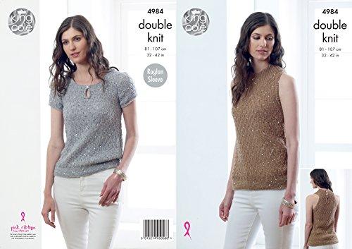King Cole Ladies Double Knitting Pattern Womens Halter Neck & Raglan Sleeve Tops (4984)
