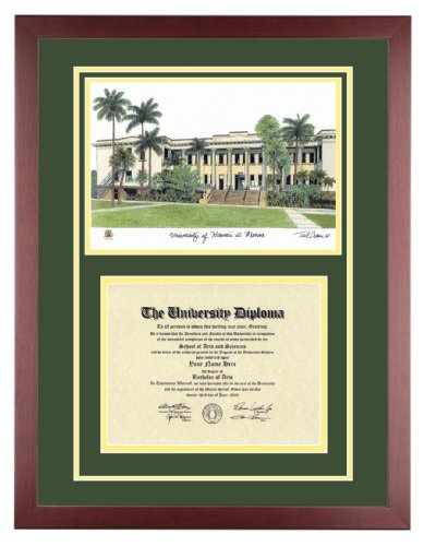 UNIVERSITY OF HAWAII Diploma with Artwork in Standard Mahogany Frame by Old School Diploma Frame Co.
