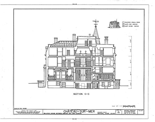 Historic Pictoric Blueprint Diagram HABS RI,3-NEWP,59- (Sheet 12 of 12) - Chateau-sur-Mer, Bellevue Avenue, Newport, Newport County, RI 44in x ()