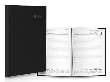 Agenda Negro 2018 1 Dia Por Pagina 21x14,5cm: Amazon.es ...