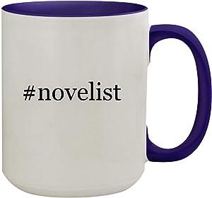 #novelist - 15oz Hashtag Ceramic Inner & Handle Colored Coffee Mug, Deep Purple