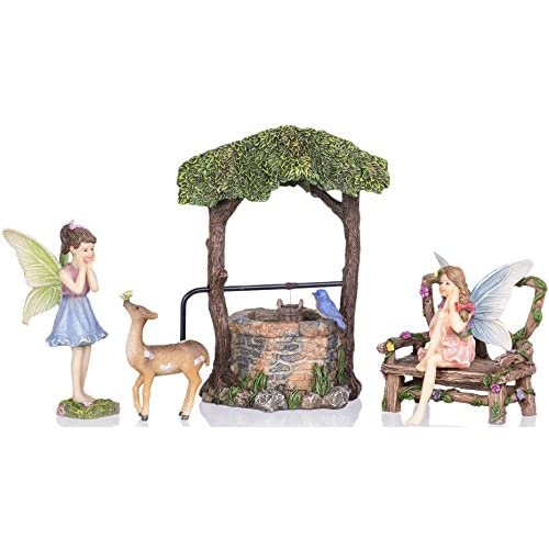 Top Joykick Fairy Garden Wishing Well Kit - Miniature Hand Painted Figurine Statues with Accessories - Set of 5pcs for Your House or Lawn Decor