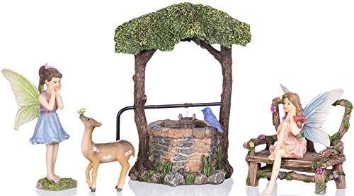 Joykick Fairy Garden Wishing Well - Miniature Hand Painted Figurine.  Set of 5 pieces