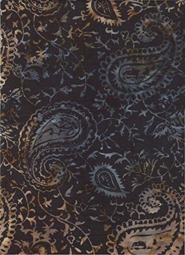 Timeless Treasures Brown & Black Paisley Batik ~ HALF YARD!! ~ Java Block Printed (Tjap Stamped) Midnight Bandana Paisley Bali Tie Dye (Ikat) Batik ~ Quilt 100% Cotton 44