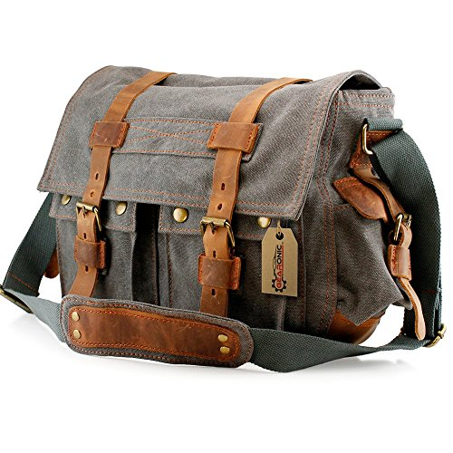gearonic-tm-mens-vintage-canvas-messenger-bag-shoulder-and-leather-satchel-school-military-slate