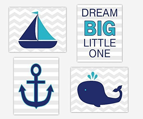 Nautical Boy Nursery Wall Art Navy Blue Teal Sailboat Whale Anchor Boat Dream Big Little One Quote Toddler Bedroom Baby Nursery Decor SET OF 4 UNFRAMED PRINTS ()