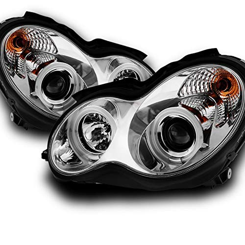 Xtune for 2001-2007 Benz W203 C-Class Chrome Housing CCFL Halo Projector Headlights Pair Left + Right 2002 2003 2004 2005 2006 Chrome Ccfl Halo Projector