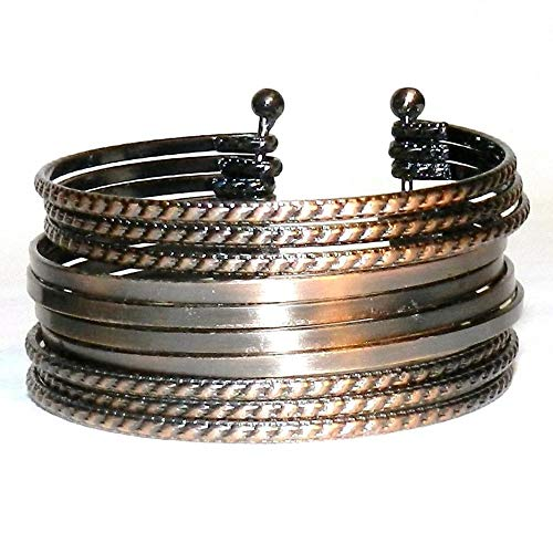 Antiqued Copper 40mm 10-Band Textured Steel Bangle Cuff Bracelet #ID-5237