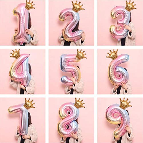 Farbverlauf Folienballon Zahl 0-9, Luftballon 32 Zoll, Mehrfarbig, für Geburtstag, Abschlussfeier, Jubiläum, Partydekoration, Heliumballon, Deko, Krone Nummer Folie Luftballons (Number 2)