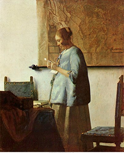 Johannes Vermeer - Woman in Blue Reading a Letter, Size 24x30 inch, Gallery Wrapped Canvas Art Print Wall décor (Woman In Blue Reading A Letter Vermeer)