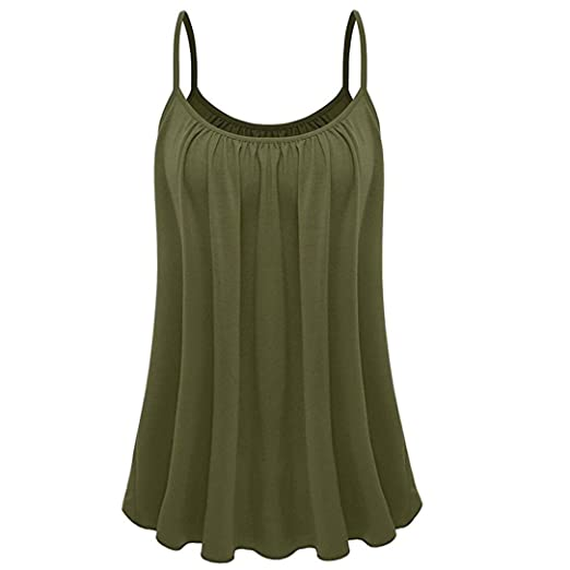 c3efb6bd25793 CieKen Women s Plus Size Tank Tops Casual Pleated Cami Vest Top Summer  Spaghetti Strap