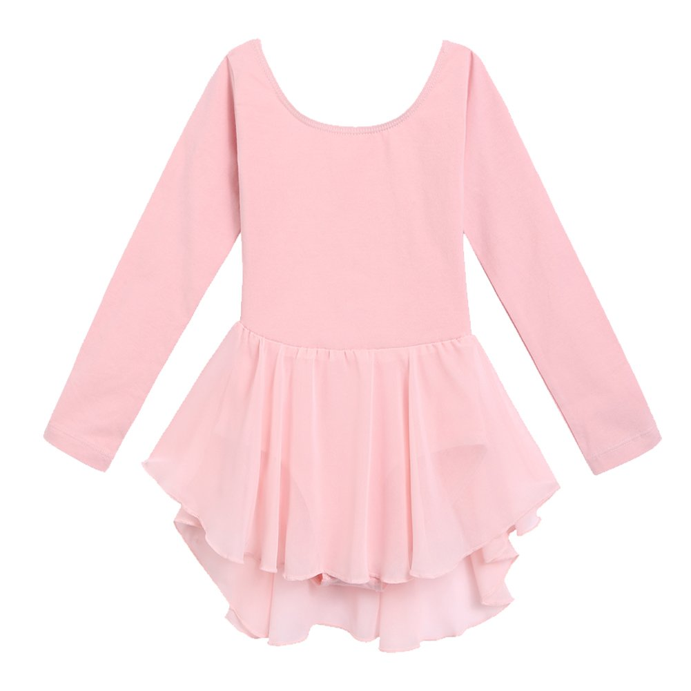 Arshiner Kids Girls Classic Long Sleeve Leotard Dance Ballet Dress  Light Pink  130 Light Pink 130 Age for 4 5Y  by Arshiner