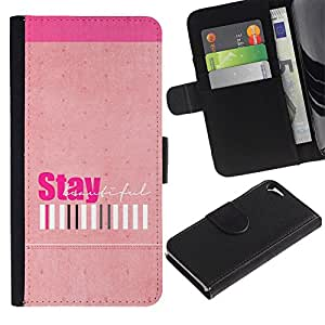 Be Good Phone Accessory // Caso del tirón Billetera de Cuero Titular de la tarjeta Carcasa Funda de Protección para Apple Iphone 5 / 5S // Peach Stay Positive Girls Barcode