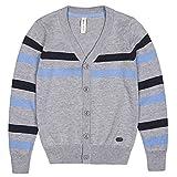 Benito & Benita Boys' Cardigan Sweater V-Neck School Uniform Wool Stripes Sweater for 2-12Y