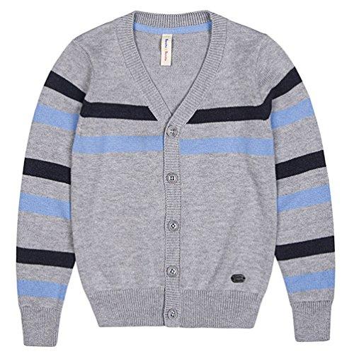 Benito & Benita Boys' Cardigan Sweater V-Neck School Uniform Wool Stripes Sweater for 2-12Y Light Gray
