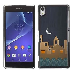 Be Good Phone Accessory // Dura Cáscara cubierta Protectora Caso Carcasa Funda de Protección para Sony Xperia Z2 D6502 D6503 D6543 L50t L50u // Town Stylistic Blue Paper Art