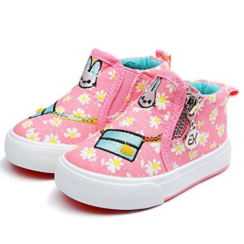 Petit Bari Kid's Flower Print High Top Zipper Canvas Shoes Pink 21 M EU / 5.5 M US (Girls Sheos)