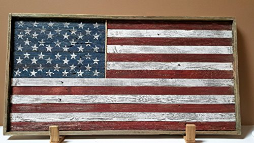 Rustic Wood American Flag (framed) by Retired Wood Kreations