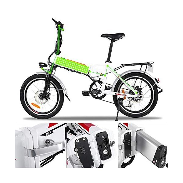 """BIKFUN Bicicletta Elettrica Pieghevole, Bici Elettriche 20"""", Motore 250W Batteria 36V 8Ah, Shimano a 7 velocità 6 spesavip"""