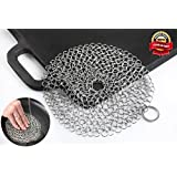 EXOPAK Premium Cast Iron Cleaner. Chainmail Scrubber - Best For Cleaning Your Skillet, Pan, Griddle, Wok. Reusable Option to Scouring Pad. Does Not Rust like Steel Wool. Makes Cookware Cleaning Easy.