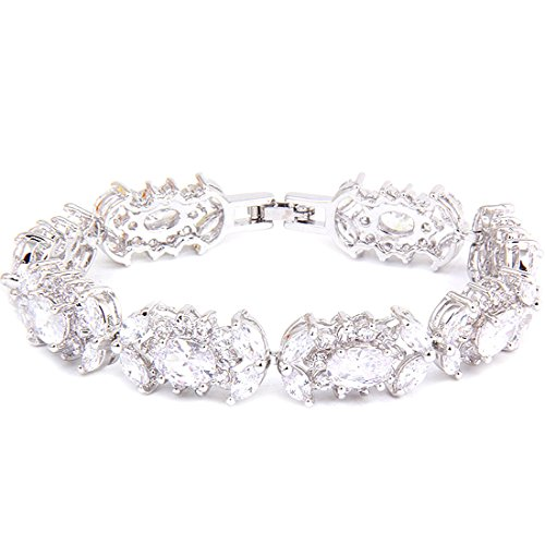 Or blanc ovale Marquise Round Tennis Effacer CZ Bracelet Mariage
