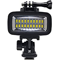 Venidice 40m/130ft Rechargeable Diving Light Dimmable Waterproof Video LED Light 6W 20 LEDs 700LM 1900mAh Gopro HTC XIAOYI SJ5000 SJ6000 & Other Action Camera &DSLR Camera