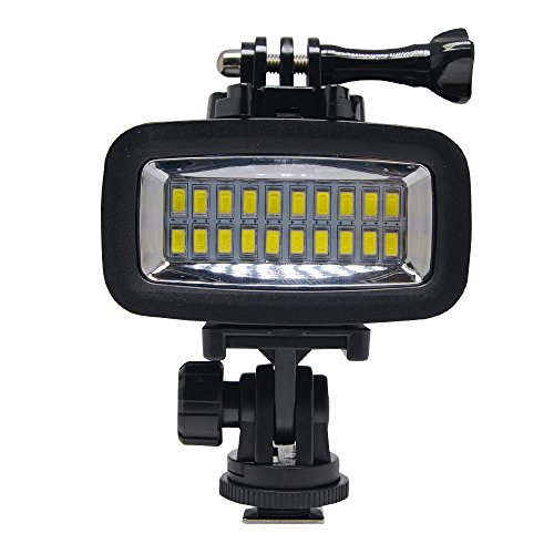 Venidice 40m/130ft Rechargeable Diving Light Dimmable Waterproof Video LED Light 6W 20 LEDs 700LM with 1900mAh for Gopro HTC XIAOYI SJ5000 SJ6000 & Other Action Camera &DSLR Camera by Venidice