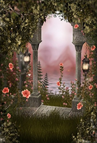 3' Small Pillar Candle (AOFOTO 3x5ft Romantic Roses Background Valentine's Day Lakeside Vintage Garden Photography Backdrop Fairyland Meadow Pillars Retro Lamp Lovers Girl Bride Portrait Dreamy Photo Studio Props Wallpaper)