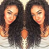 Formal Hair Curly Human Hair Lace Front Wigs 150% Density Brazilian Deep Curly Wig with Baby Hair for Black Women Natural Color 14 inch