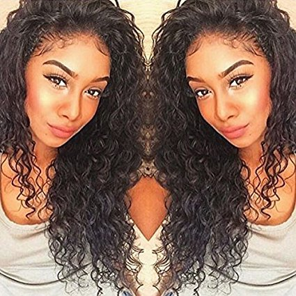 Formal Hair Curly Human Hair Lace Front Wigs 150% Density Brazilian Deep Curly Wig with Baby Hair for Black Women Natural Color 14 inch by Formal Hair (Image #7)