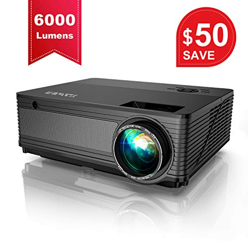 YABER Native 1080P Projector 6000 Lux Upgrad Full HD Video Projector (1920 x 1080) Support 4k and Zoom, Home & Outdoor Projector Compatible with TV Stick,HDMI,VGA,USB, Smartphone,PC,Xbox