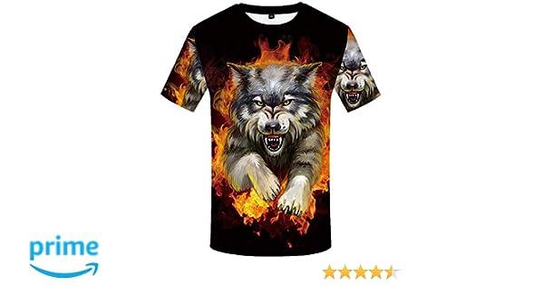d3b468803481 Amazon.com: KYKU Wolf Shirts Men Flame 3D T-Shirt Short Sleeve Casual Funny  Clothing: Clothing