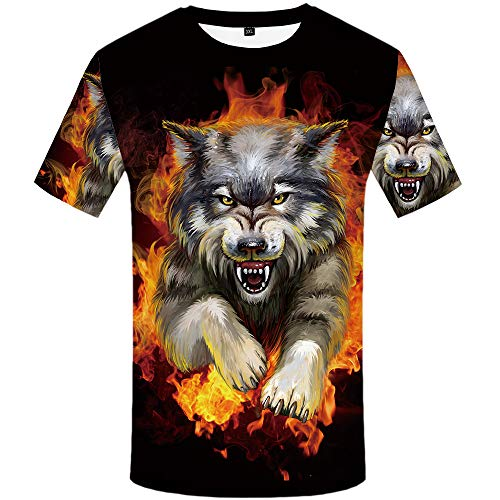 KYKU Wolf Shirts Men Flame 3D T-Shirt Short Sleeve Casual Funny Clothing (X-Large)