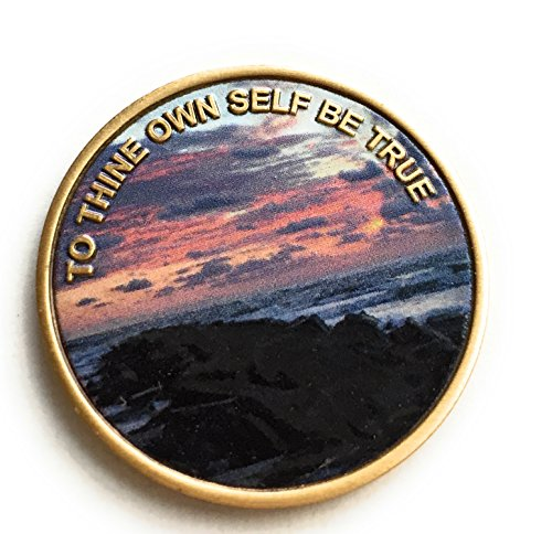 To Thine Own Self Be True Color Beach Sunrise Serenity Prayer Medallion Chip