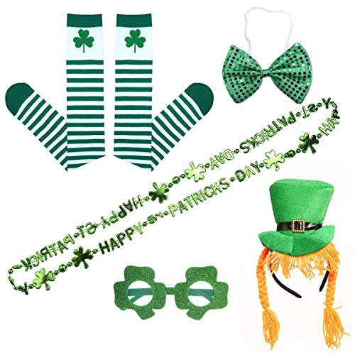 Pawaca St. Patrick S Day Dressing-up Accessories, Green Leprechaun Parade Costume Set Irish Day Saint Celebration Outfit Attire Accessories, Great Gift for Female Friends -