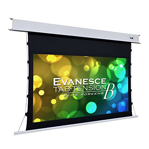 Elite Screens Evanesce Tab-Tension B, 100-inch Diagonal 16:9, 4K / 8K HD Ready, Recessed in-Ceiling Electric Tab Tensioned Projector Screen, Matte White Projection Screen Surface, ETB100HW2-E12 ()