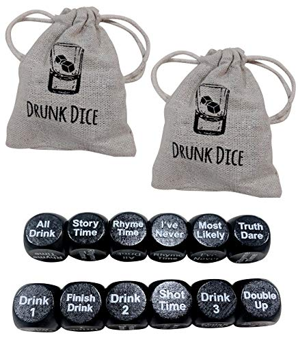 ShouldWeDrinkTonight Drunk Dice - 2 Sets : 4 Pcs Dice + 2 Carry Bags Total - Adult Drinking Dice Party Game. Games Include: I've Never, Truth Dare, Most Likely