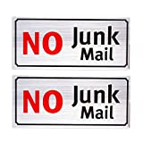 No Junk Mail Sign - 2-Pack Self-Adhesive Aluminum Signs, Perfect for Business, and Home Use, Silver, 7.9 x 3.6 Inches