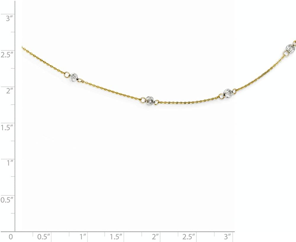 Mia Diamonds 14k Gold Two-tone Diamond-Cut Beads with 2in Ext Necklace