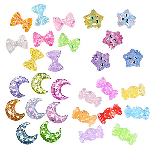 29 Pack Multi Glitter Star-Shaped Moon Candy Bow Slime Charms Slices Resin Beads Flatback Buttons for Craft Making Miniature Fairy Garden Accessories Scrapbooking Phone Case ()