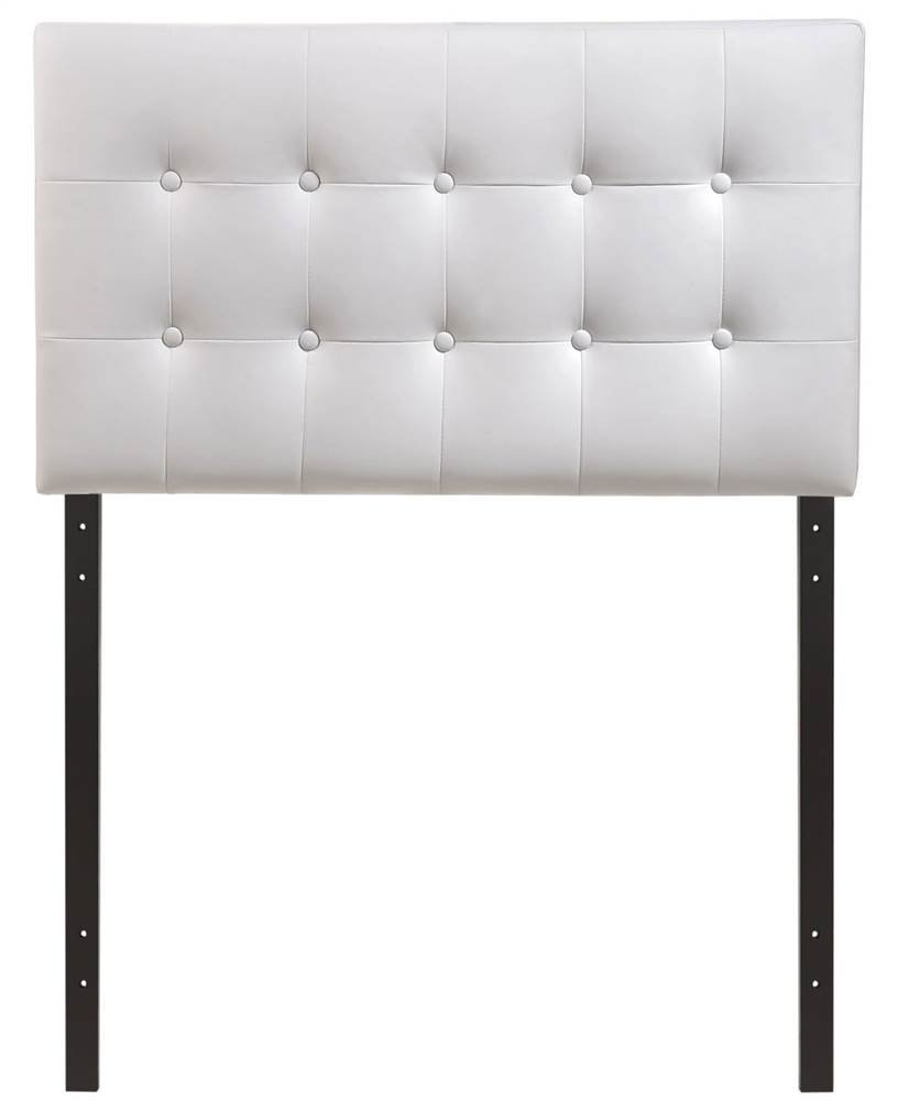 Modway Emily Tufted Button Faux Leather Upholstered Twin Headboard in White by Modway