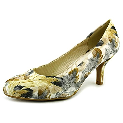 Easy Street Womens Passion Dress Pump Beige Feather Fabric