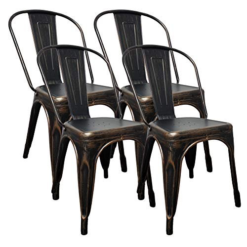 H JINHUI Metal Dining Chairs Set of 4 Antique Black Gold Stackable Side Chairs for Kitchen Dining Room Trattoria Patio