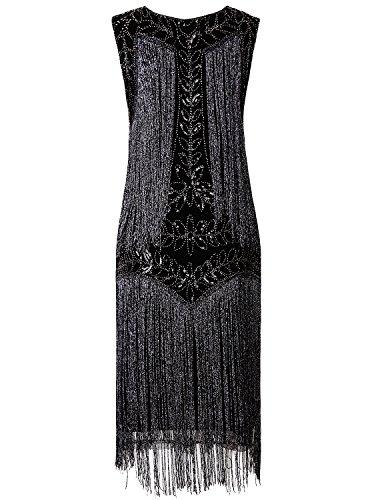 Vijiv Women's Flapper Dresses 1920s Gatsby Full Fringed