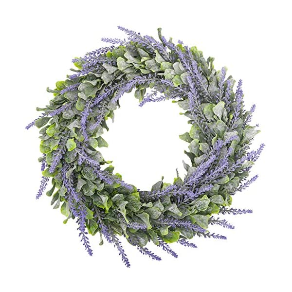 HANTAJANSS Artificial Lavender Flower Wreath for Front Door 15 Inches,Light Purple Silk Fake Flowers Green Leaves Garland for Spring, Summer, Winter, Home, Wall, Wedding Décor