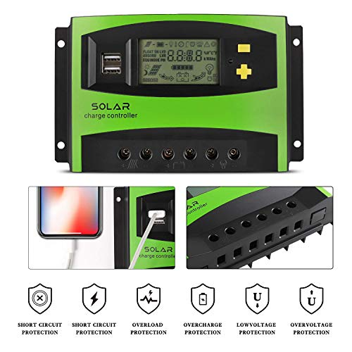 MoimTech Solar Charge Controller, Solar Panel Battery Controller 40A PWM  Auto Paremeter Adjustable LCD Display Intelligent Regulator with Dual Port