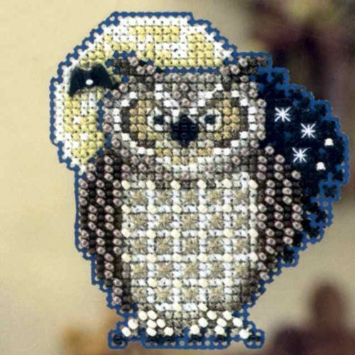 Hooty Owl Beaded Counted Cross Stitch Ornament Kit Mill Hill 2012 Autumn Harvest MH18-2204 ()