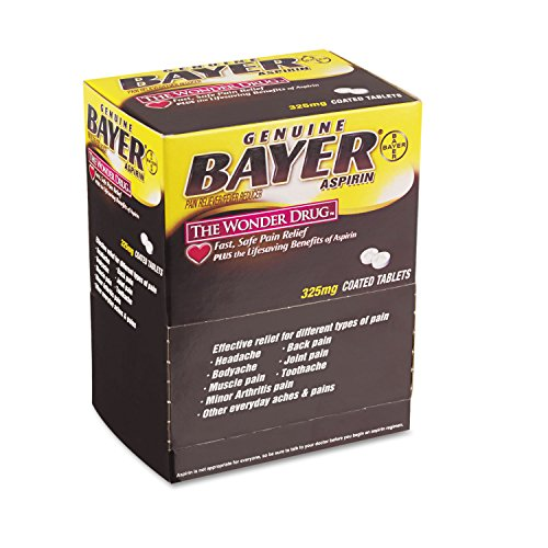 Bayer BXBG50 Aspirin Tablets, Two-Pack, 50 Packs/Box -