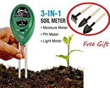 Soil pH Meter,3 in 1 Soil Tester Kit Water Moisture Meter Light and PH acidity Tester,Plant Tester for Garden, Farm, Lawn, Indoor Outdoor (No Battery needed) ,with Free Gift 3pcs Gardening tools